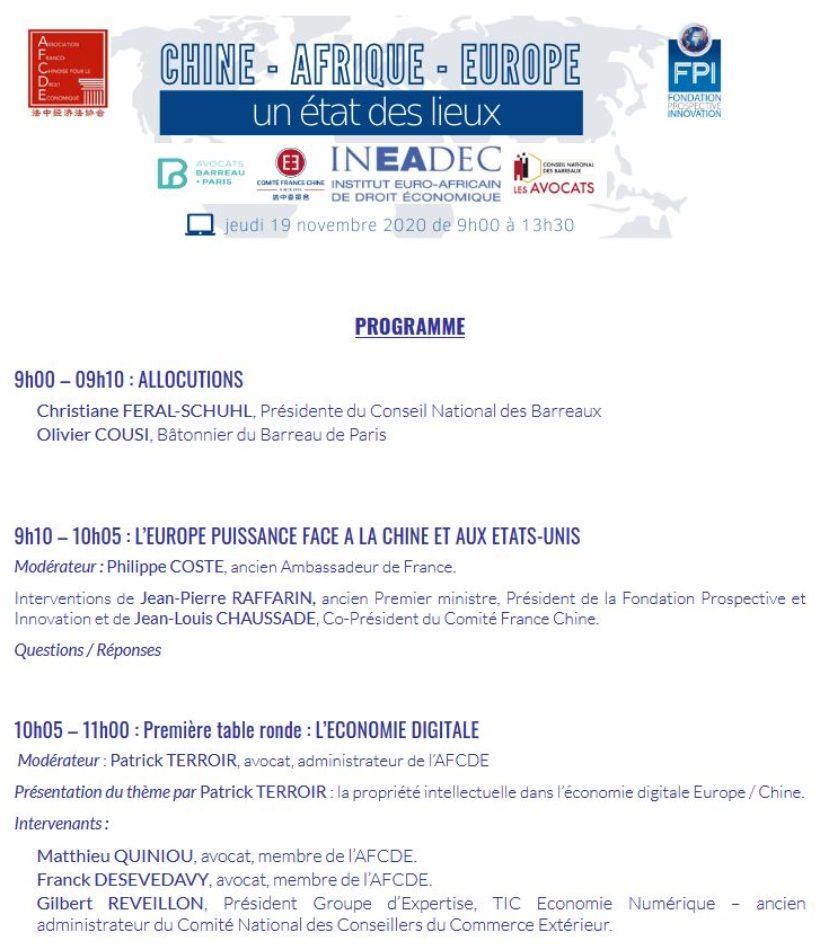 Webinaire Chine et économie numérique 19 novembre 2020
