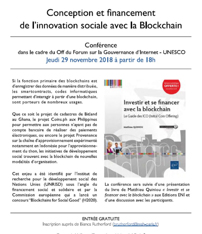 Conférence Off du Forum sur la Gouvernance d'Internet – UNESCO – Financement de l'innovation sociale avec la blockchain (à la Tour Montparnasse le 29 novembre 2018)