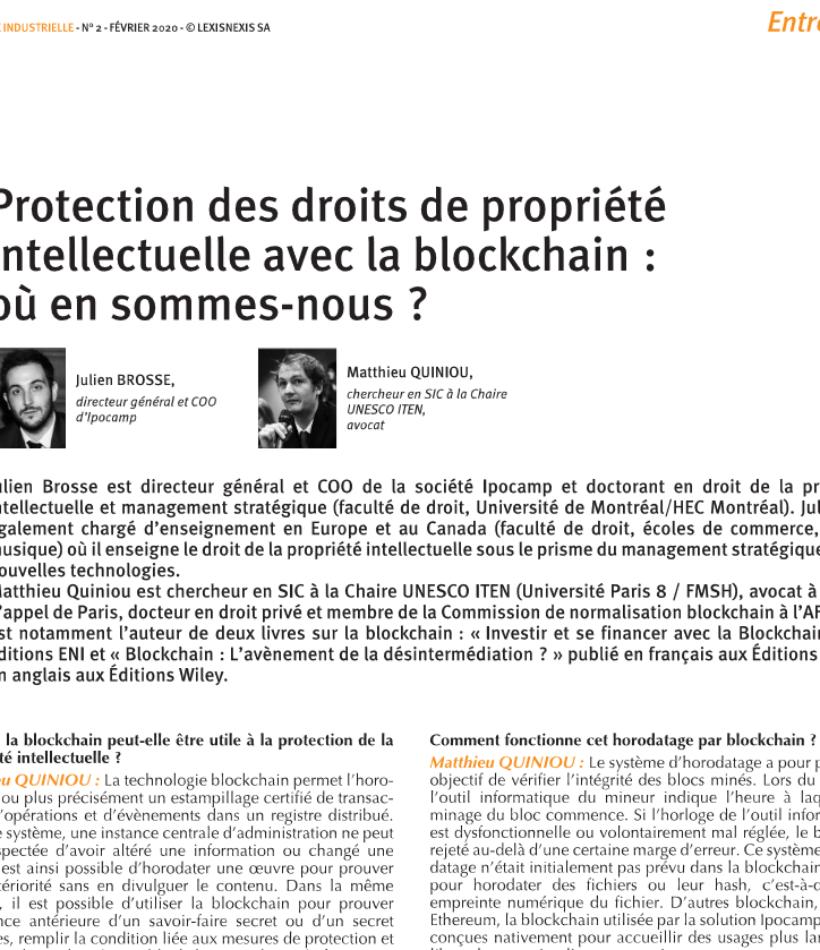 Protection des droits de propriété intellectuelle avec la blockchain : où en sommes-nous ? en libre accès sur Lexis Nexis