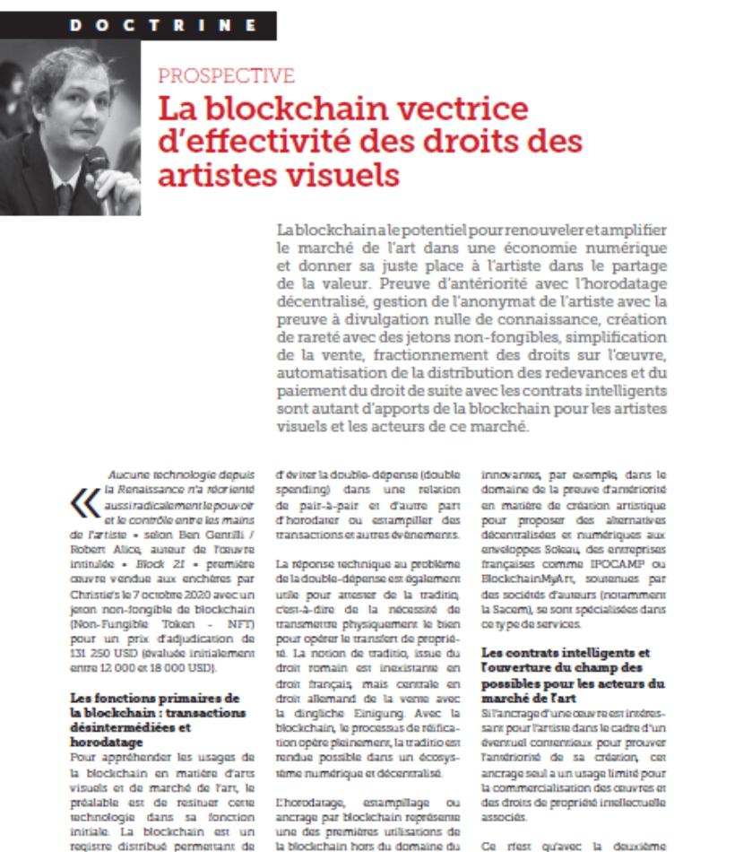 Article Blockchain vectrice d'effectivité des droits des artistes visuels