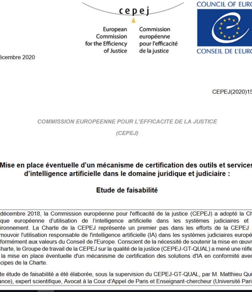 Adoption par la CEPEJ du Conseil de l'Europe de l'étude de faisabilité d'une certification des IA en matière judiciaire