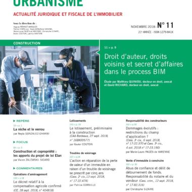 Droit d'auteur, droits voisins et secret d'affaires dans le process BIM, Lexis Nexis, Construction Urbanisme, Etude, Novembre 2018